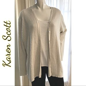 Karen Scott Cardigan Sweater Gold Sparkles Size XL